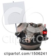 3d Business Elephant Holding A Wine Bottle On A White Background