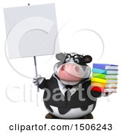 3d Business Holstein Cow Holding Books On A White Background