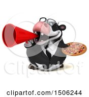 3d Business Holstein Cow Holding A Pizza On A White Background
