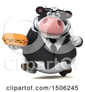 3d Business Holstein Cow Holding A Hot Dog On A White Background