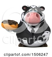 3d Business Holstein Cow Holding A Donut On A White Background