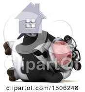 3d Business Holstein Cow Holding A House On A White Background
