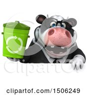 3d Business Holstein Cow Holding A Recycle Bin On A White Background