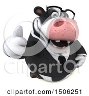 Clipart Of A 3d Business Holstein Cow Holding Up A Middle Finger On A White Background Royalty Free Illustration by Julos