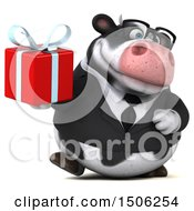 3d Business Holstein Cow Holding A Gift On A White Background