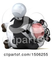 3d Business Holstein Cow Holding A Golf Ball On A White Background