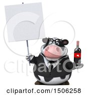 3d Business Holstein Cow Holding A Wine Bottle On A White Background