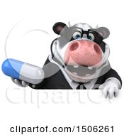 3d Business Holstein Cow Holding A Pill On A White Background