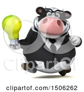 3d Business Holstein Cow Holding A Light Bulb On A White Background
