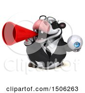 3d Business Holstein Cow Holding An Eyeball On A White Background
