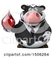 3d Business Holstein Cow Holding A Blood Drop On A White Background