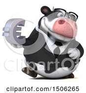 3d Business Holstein Cow Holding A Euro On A White Background