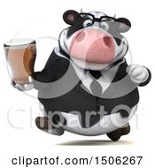 3d Business Holstein Cow Holding A Beer On A White Background