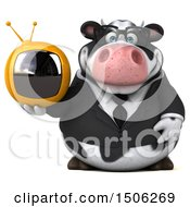 3d Business Holstein Cow Holding A Tv On A White Background