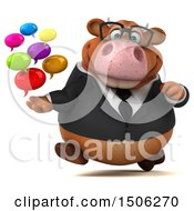 3d Brown Business Cow Holding Messages On A White Background