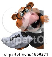 Poster, Art Print Of 3d Brown Business Cow Holding A Plane On A White Background