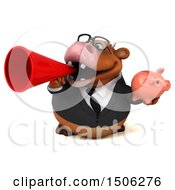 Poster, Art Print Of 3d Brown Business Cow Holding A Piggy Bank On A White Background