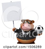 3d Brown Business Cow Holding A Soccer Ball On A White Background