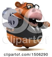 3d Brown Business Cow Holding A Dollar Sign On A White Background