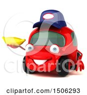 Poster, Art Print Of 3d Red Car Mechanic Holding A Banana On A White Background