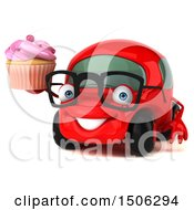 Poster, Art Print Of 3d Red Car Holding A Cupcake On A White Background