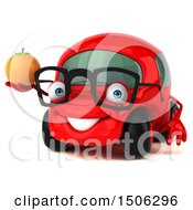 Poster, Art Print Of 3d Red Car Holding An Orange On A White Background