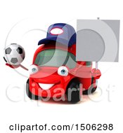 3d Red Car Mechanic Holding A Soccer Ball On A White Background