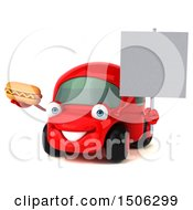 Poster, Art Print Of 3d Red Car Holding A Hot Dog On A White Background