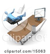 Blue Business Person Falling Backwards After Clumsily Leaning Too Far Back In A Chair At His Computer Desk While Comparing Graphs On A Printout And On The Computer Clipart Graphic