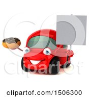 Poster, Art Print Of 3d Red Car Holding A Donut On A White Background