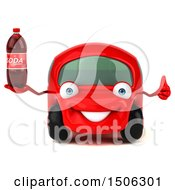 Poster, Art Print Of 3d Red Car Holding A Soda On A White Background