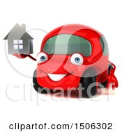 Poster, Art Print Of 3d Red Car Holding A House On A White Background