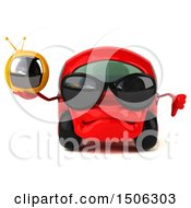 Poster, Art Print Of 3d Red Car Holding A Tv On A White Background
