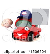 Poster, Art Print Of 3d Red Car Mechanic Holding A Brain On A White Background