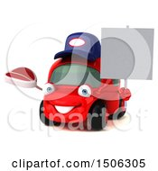 Poster, Art Print Of 3d Red Car Mechanic Holding A Steak On A White Background