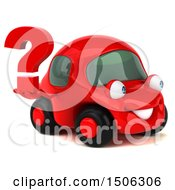 Poster, Art Print Of 3d Red Car Holding A Question Mark On A White Background