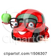 Poster, Art Print Of 3d Red Car Holding An Apple On A White Background