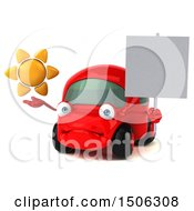 3d Red Car Holding A Sun On A White Background