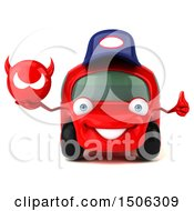 Poster, Art Print Of 3d Red Car Mechanic Holding A Devil On A White Background