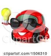 Clipart Of A 3d Red Car Holding A Light Bulb On A White Background Royalty Free Illustration by Julos