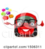 Clipart Of A 3d Red Car Holding A Messages On A White Background Royalty Free Illustration by Julos