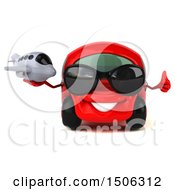 Poster, Art Print Of 3d Red Car Holding A Plane On A White Background