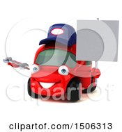 Poster, Art Print Of 3d Red Car Mechanic Holding A Wrench On A White Background