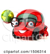 Poster, Art Print Of 3d Red Car Holding A Globe On A White Background
