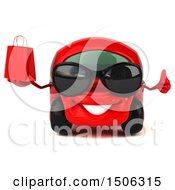 Clipart Of A 3d Red Car Holding A Shopping Bag On A White Background Royalty Free Illustration by Julos