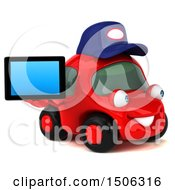 Poster, Art Print Of 3d Red Car Mechanic Holding A Tablet On A White Background