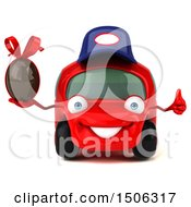 Poster, Art Print Of 3d Red Car Mechanic Holding A Chocolate Egg On A White Background