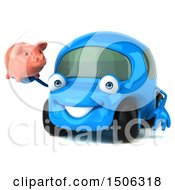 3d Little Blue Car Holding A Piggy Bank On A White Background