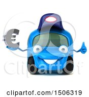 3d Little Blue Car Mechanic Holding A Euro On A White Background
