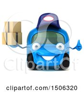 Poster, Art Print Of 3d Little Blue Car Mechanic Holding Boxes On A White Background